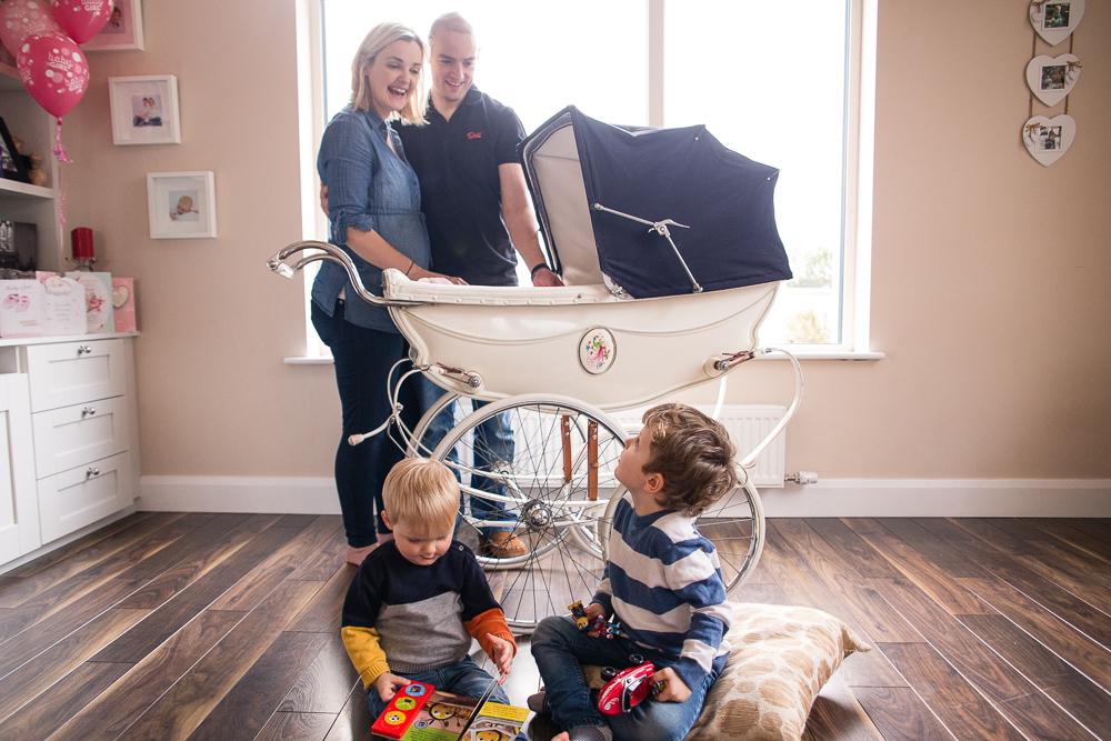 family portrait, vintage, pram, restoration, baby pram, gift voucher,